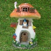 Large Solar- LED Gnome Toadstool Cottage -21cm