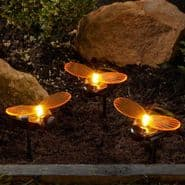 LED Solar Bee's -  Set of 3 Bee Stakes - Garden  Lights - 14cm Tall