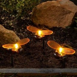 LED Solar Bee's -  Set of 3 Bee Stake Lights -.