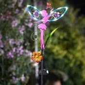 LED Solar Fairy Wings Fairy Stake - Pink- 91cm tall