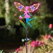 LED Solar Fairy Wings Fairy Stake - Pink & Blue- 91cm tall