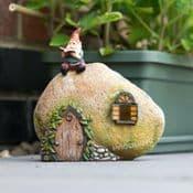 LED- Solar - Light up -Gnome Home- Garden Rock House