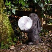 LED Solar Moon Gazing Bronze Hare with Moon Light  - Colour changing