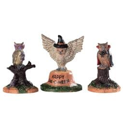 Lemax Spooky Town - Happy ow-o-ween -pack of 3 owls.