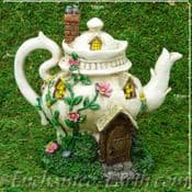Light up - Teapot Cottage - Country Garden Fairy House - 18cm
