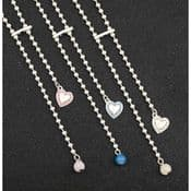 Long Crystal Heart & ball Adjustable Silver Plated Necklace