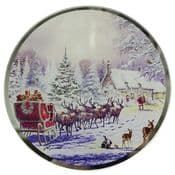 Macneil Magical Santa Christmas Eve - Round Glass Place Mats - 20cm