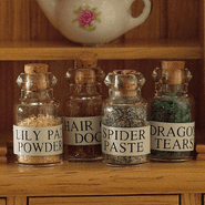 Magical Witches Potions - Pack of 4 Real Glass Bottles