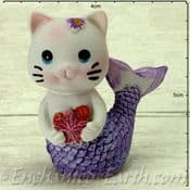 Mermaid Cat - Mackerel in Purple holding a Starfish - 4.5cm tall