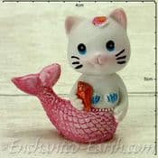Mermaid Cat - Salmon in Pink holding a Seashell - 4.5cm tall