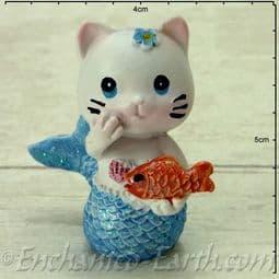 Mermaid Cat - Tuna in Blue holding a toy fish - 4.5cm tall.