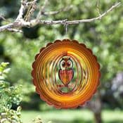 "Metal Brown Owl Wind Spinner - Hanging Garden decoration  12"""