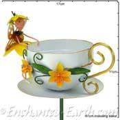Metal Fairy Tea Cup Bird Feeder -  Dinkie The Daffodil Fairy