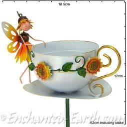 Metal Fairy Tea Cup Bird Feeder - Honey The Sunflower Fairy.
