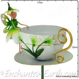 Metal Fairy Tea Cup Bird Feeder - Pearl The Snowdrop Fairy.