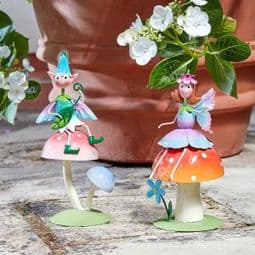 Metal  Spring Garden Fairy & Friends on Toadstools - Choose from 2 designs.