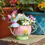 Metal  Spring Garden Fairy & Teapot Planter