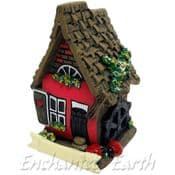 Mini Red Garden House with water wheel