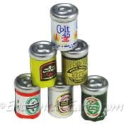 Miniature beer cans (set of 6)
