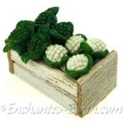 Miniature Crate of  Cauliflower & Broccoli