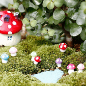 Miniature Fairy Garden  Tiny  Red Toadstools - Pack of 4