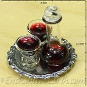 Miniature Glass Port Decanter, Two glasses & silver tray Set