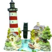 Miniature Lighthouse, Mini Cottages & Water Wheel