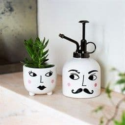 Mister & Mrs Plant Set - Ceramic Sprayer & Plant Pot.