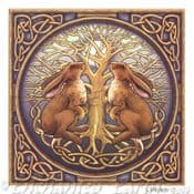 Moon Gazing Hare & Tree of Life Card