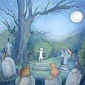 "Moongazer Greeting Card ""Moonlight Serenade"""