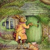 Moongazer  Greeting Card ( The Rabbit & Cottage)