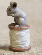 Mouse on  a cotton reel  - resin ornament - 9cm