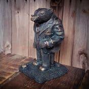 Mr Badger - Antique Bronzed Resin  Garden Sculpture