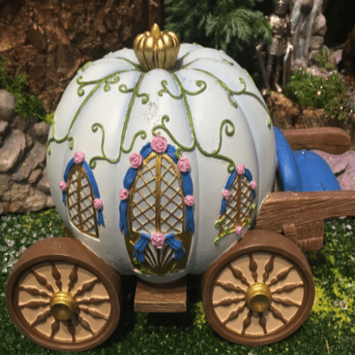 Pumpkin Carriage Miniature World NEW Indoor or Outdoor Fairy Garden