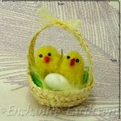 Pack of 12 - Easter Decorations Soft chicks in mini basket - 4.5cm