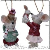 Pair of Mice - Hanging Tree Decorations