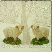 Pair of Miniature Garden Sheep with White Faces - 5cm
