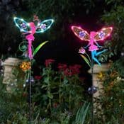 Pair of  tall Metal LED Solar Fairy Wings -  Fairy Light Stakes - 91cm tall