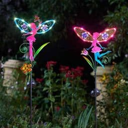 Pair of LED Solar Fairy Wings Fairy Stakes - 91cm tall .