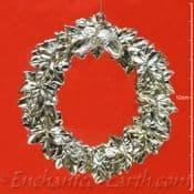 Pewter Effect -Christmas Wreath Hanger -Leaf & Acorn Decoration - 11cm
