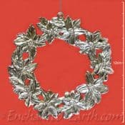 Pewter Effect -Christmas Wreath Hanger -Poinsettia Decoration - 11cm