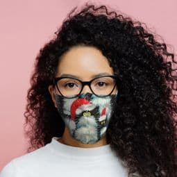 Reusable Face Covering - Kim Haskins Christmas Cat -  Double Layered Face Mask.