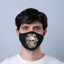 Reusable Face Covering - Skulls & Roses -  Double Layered Face Mask.