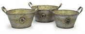 Rose Collection - Zinc Planter Bowls - Set of 3