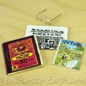 Set of 4 Hand made Miniature newspapers, magazines  & Reading Glasses