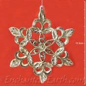 Silver Pewter Effect Decoration -Choose from a Star or Holly Leaf Design.