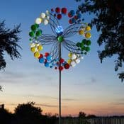 Solar Colour Changing LED - Confetti  Kinetic  Wind Spinner  - 213cm