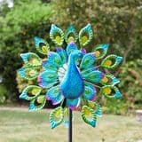 Solar Colour Changing LED - Peacock  Kinetic  Wind Spinner  - 130cm