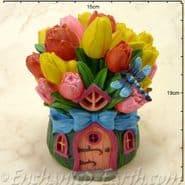 Solar LED Fairy House - Tulip Cottage -  19cm