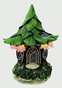 Solar - LED  Leaf Roof  cottage -  flat backed  Fairy Cottage - 23.5cm